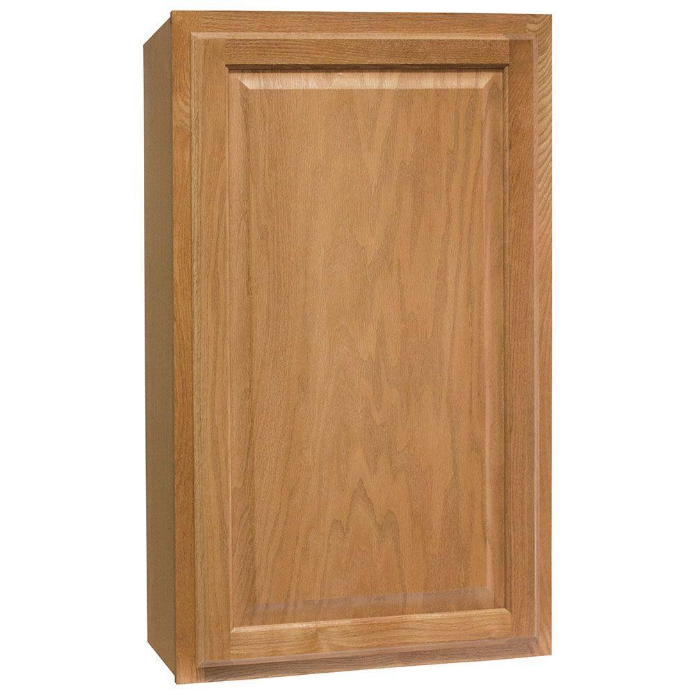 Hampton Bay Hampton Assembled 21x36x12 in. Wall Kitchen Cabinet in Medium Oak