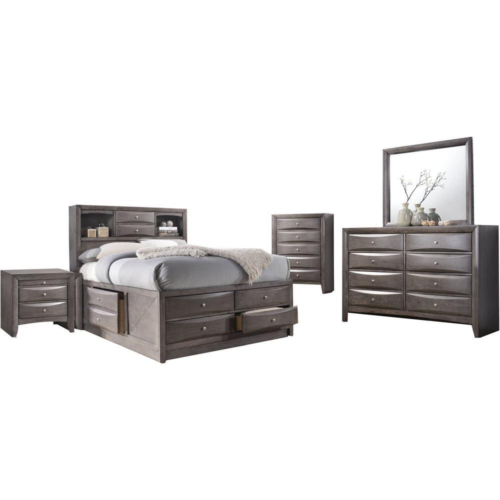 Unbranded Orleans Storage 5 Piece Gray King Size Bedroom Set