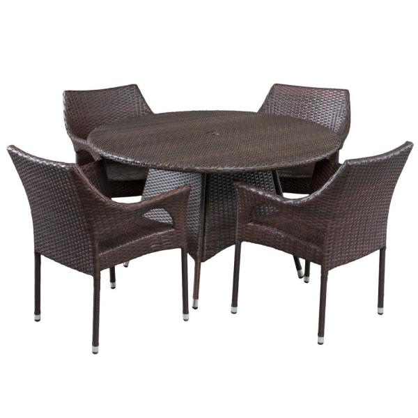 Armstrong Multi-Brown 5-Piece Wicker Outdoor Dining Set
