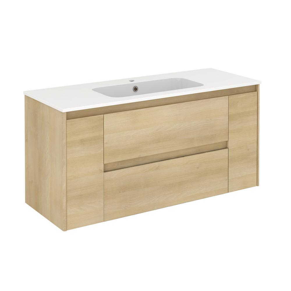 Ambra 47.5 in. W x 18.1 in. D x 22.3 in. H Bathroom Vanity Unit in Nordic Oak with Vanity Top and Basin in White