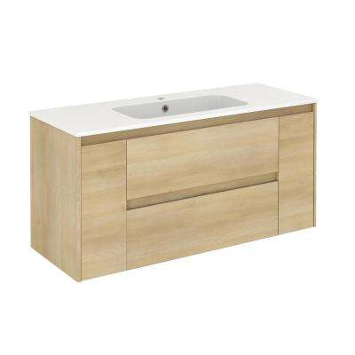 47.5 in. W x 18.1 in. D x 22.3 in. H Bathroom Vanity Unit in Nordic Oak with Vanity Top and Basin in White