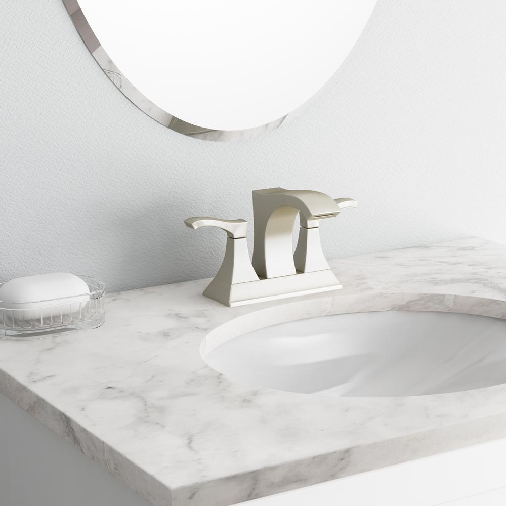 Venturi 4 in. Centerset 2-Handle Bathroom Faucet in Spot Defense Brushed Nickel