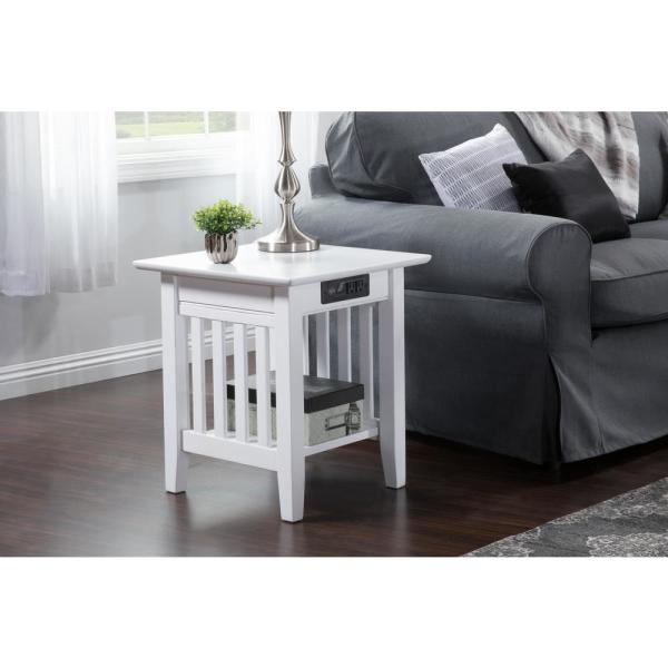 Atlantic Furniture Mission White End Table With Charging Station Ah14212 The Home Depot