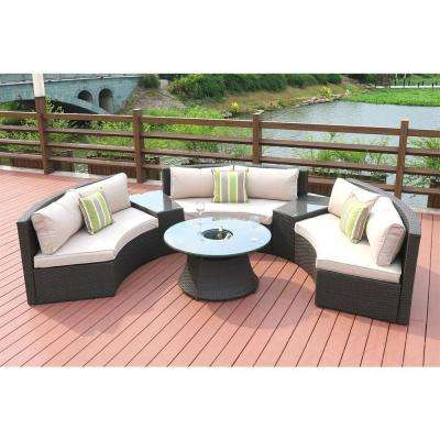 6-Piece Half Moon Black Wicker Outdoor Sectional Set with Beige Cushions