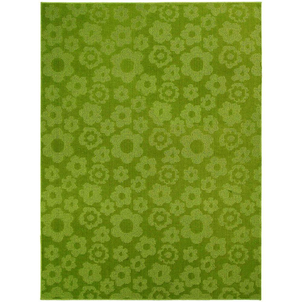 Lime Green Overdyed Rug: Garland Rug Flowers Lime 5 Ft. X 7 Ft. Area Rug-CL-16-RA