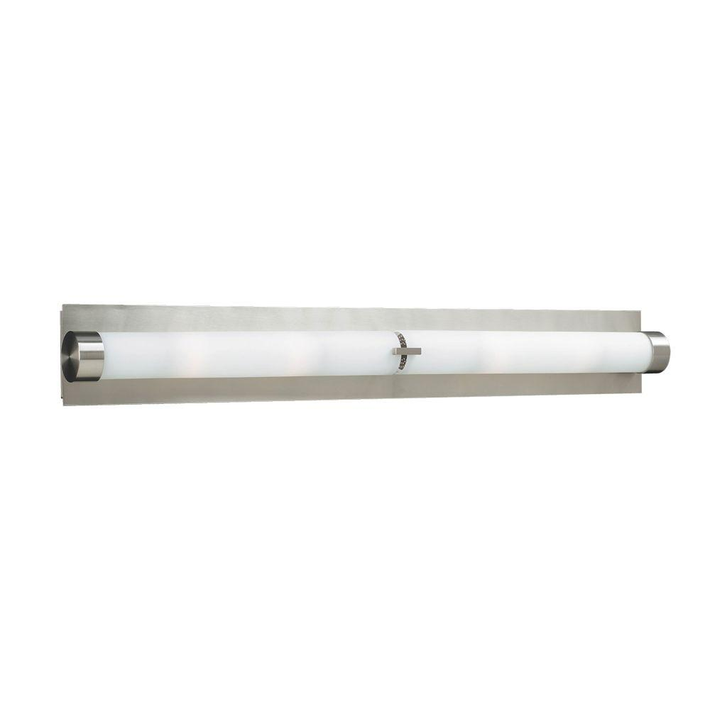 6-Light Satin Nickel Bath Vanity Light with Matte Opal Glass