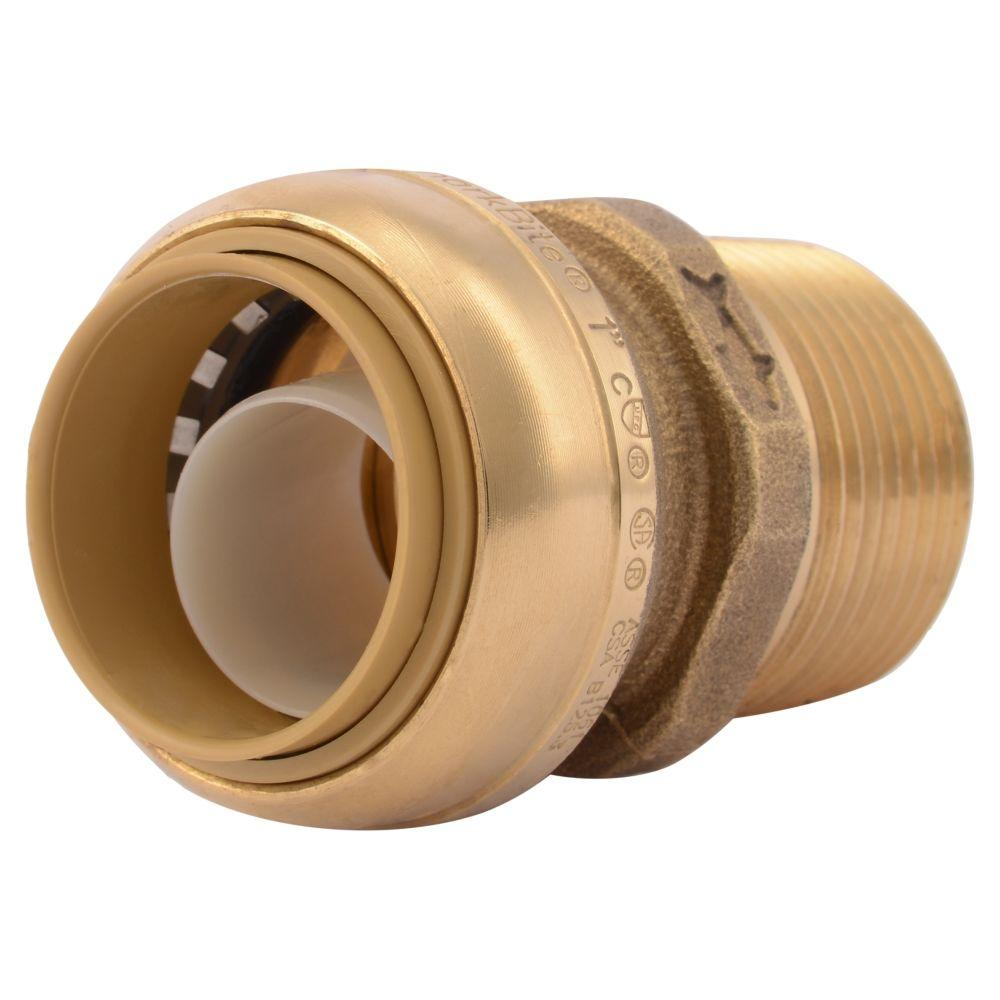 In brass push to connect male pipe thread adapter