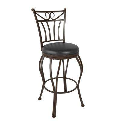Jericho 26 in. Metal Swivel Bar Stool with Glassy Dark Brown Bonded Leather Seat