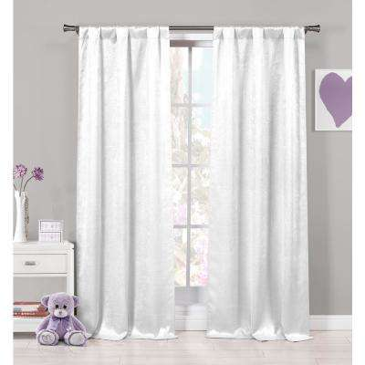 Solid White Polyester Room Darkening Grommet Window Curtain 37 in. W x 63 in. L (2-Pack)