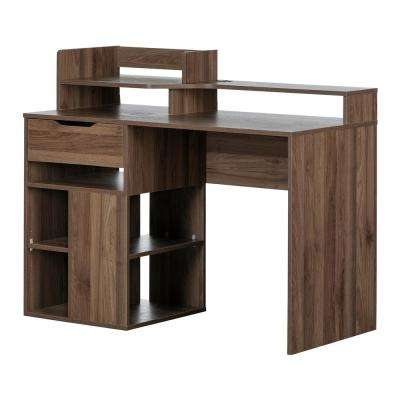 Holland Natural Walnut Desk with Hutch and Storage