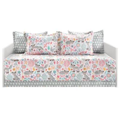 Pixie Fox 6-Piece Gray/Pink Daybed Cover Set 39 in. x 75 in.