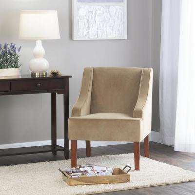 Swoop Arm Velvet Accent Chair Natural