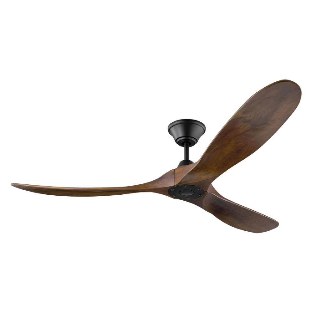 Indoor/Outdoor Matte Black Ceiling Fan With Dark Walnut Blades With Remote  Control 3MAVR60BK   The Home Depot