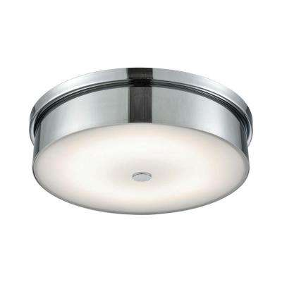 Towne Chrome and Opal Glass Large Round LED Flush Mount
