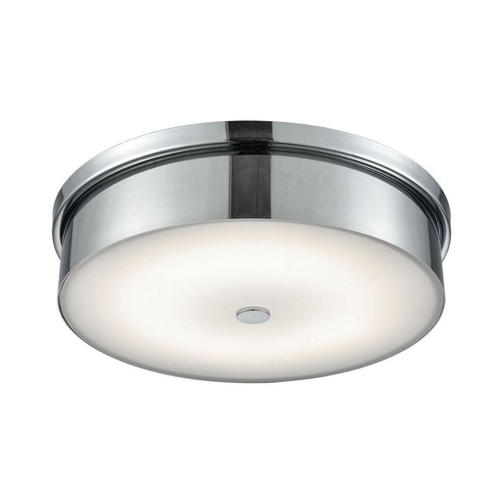 Titan Lighting Towne Chrome And Opal Glass Large Round Led Flush Mount