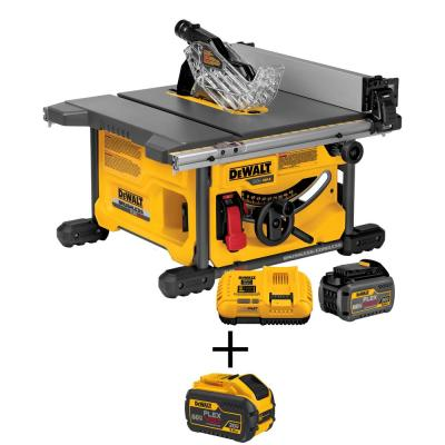 FLEXVOLT 60-Volt MAX Lithium-Ion Cordless Brushless 8-1/4 in. Table Saw Kit with Battery 2Ah, Charger and Bonus Battery