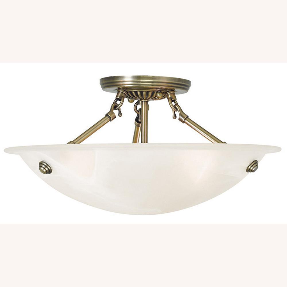 Oasis 3-Light Antique Brass Flushmount