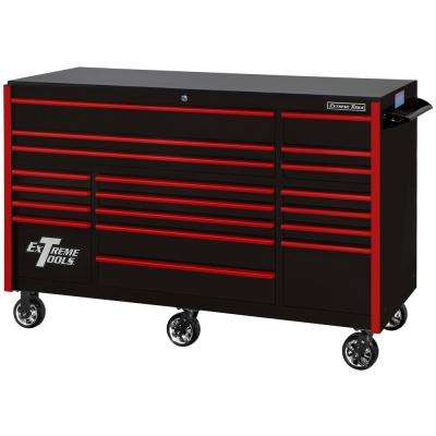 72 in. 19-Drawer Roller Cabinet Tool Chest in Black with Red Drawer Pulls