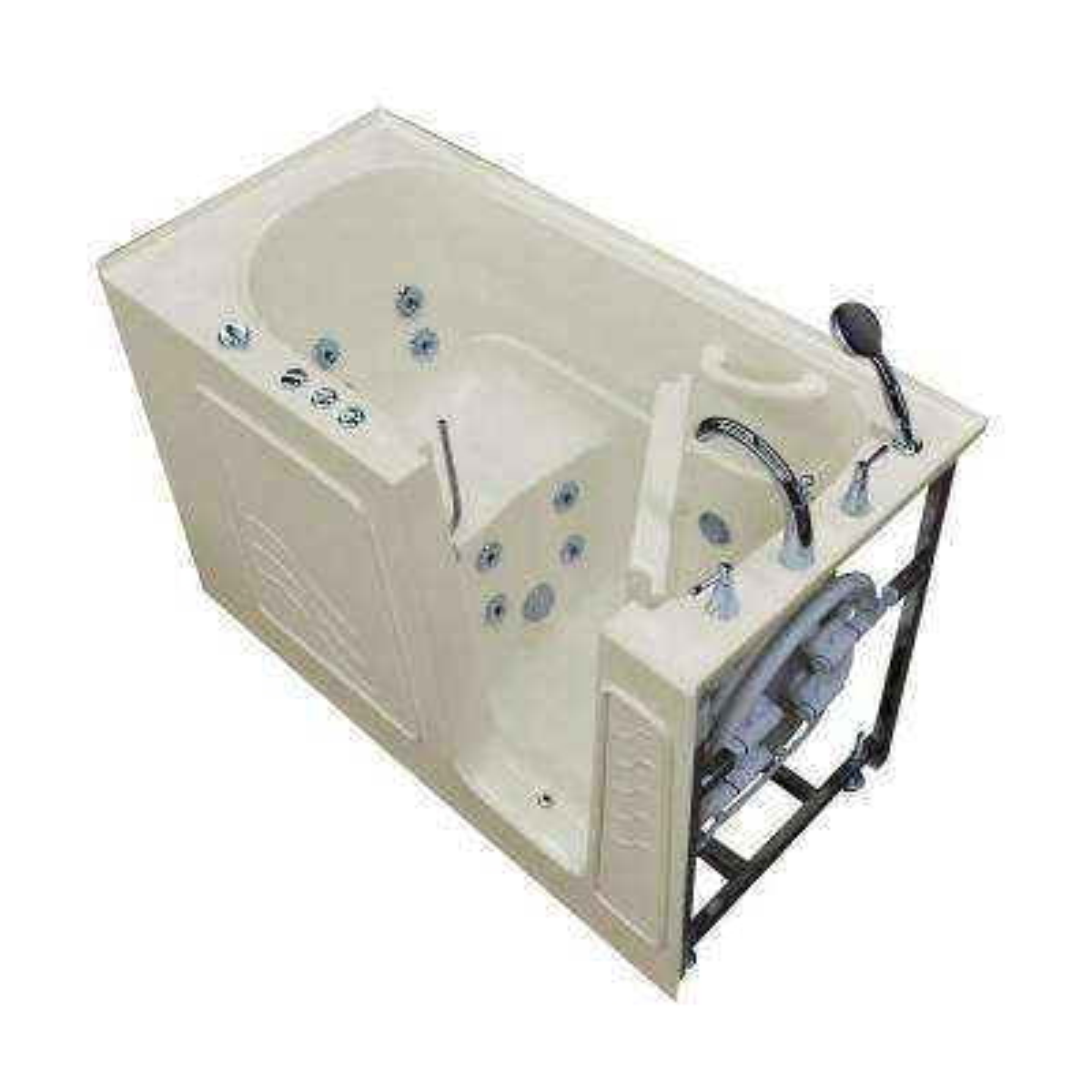 Nova Heated 5 ft. Walk-In Whirlpool Bathtub in Biscuit with Chrome Trim