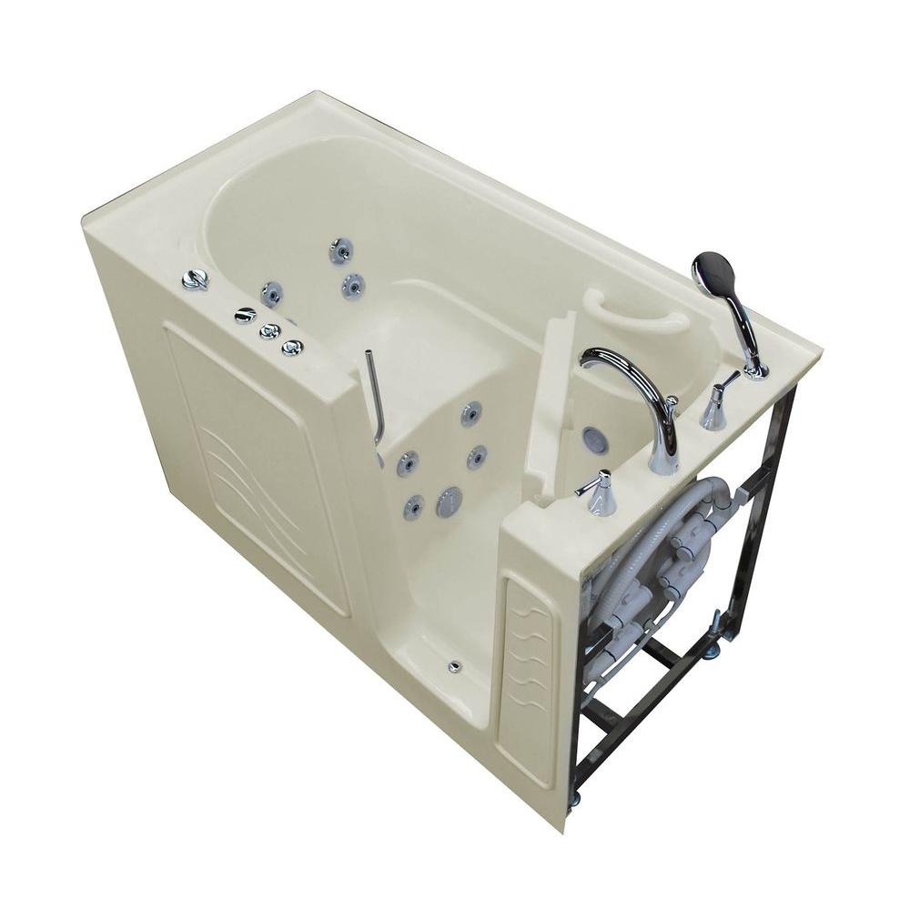 Universal Tubs 5 ft. Right Drain Walk-In Whirlpool Bath Tub in Biscuit