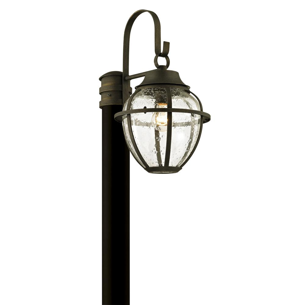 Troy Lighting Bunker Hill 1 Light Vintage Bronze 18 25 In H Outdoor Post With Clear Seeded Gl