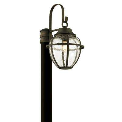 Bunker Hill 1-Light Vintage Bronze 18.25 in. H Outdoor Post Light with Clear Seeded Glass