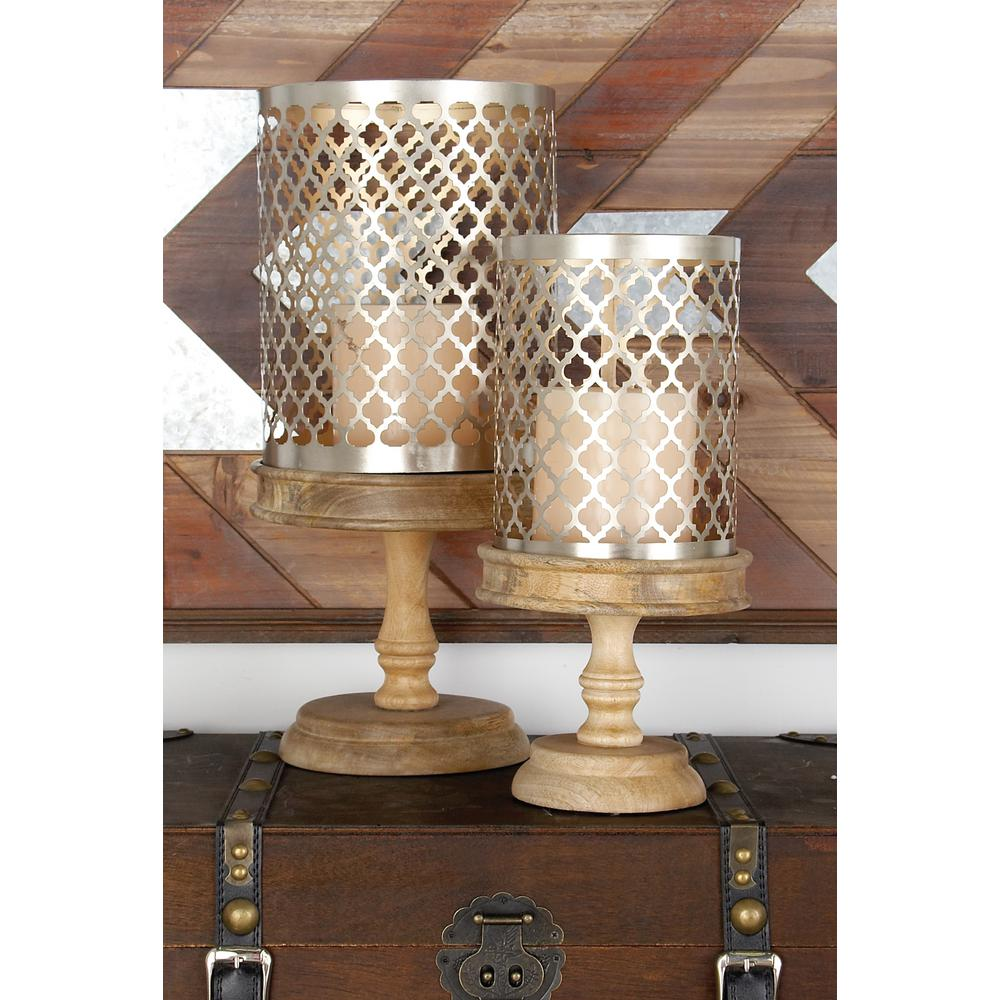 Brass Gold Quatrefoil Design Cylindrical Candle Holders on Oak Brown Mango