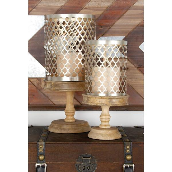 Litton Lane Brass Gold Quatrefoil Design Cylindrical Candle Holders on Oak