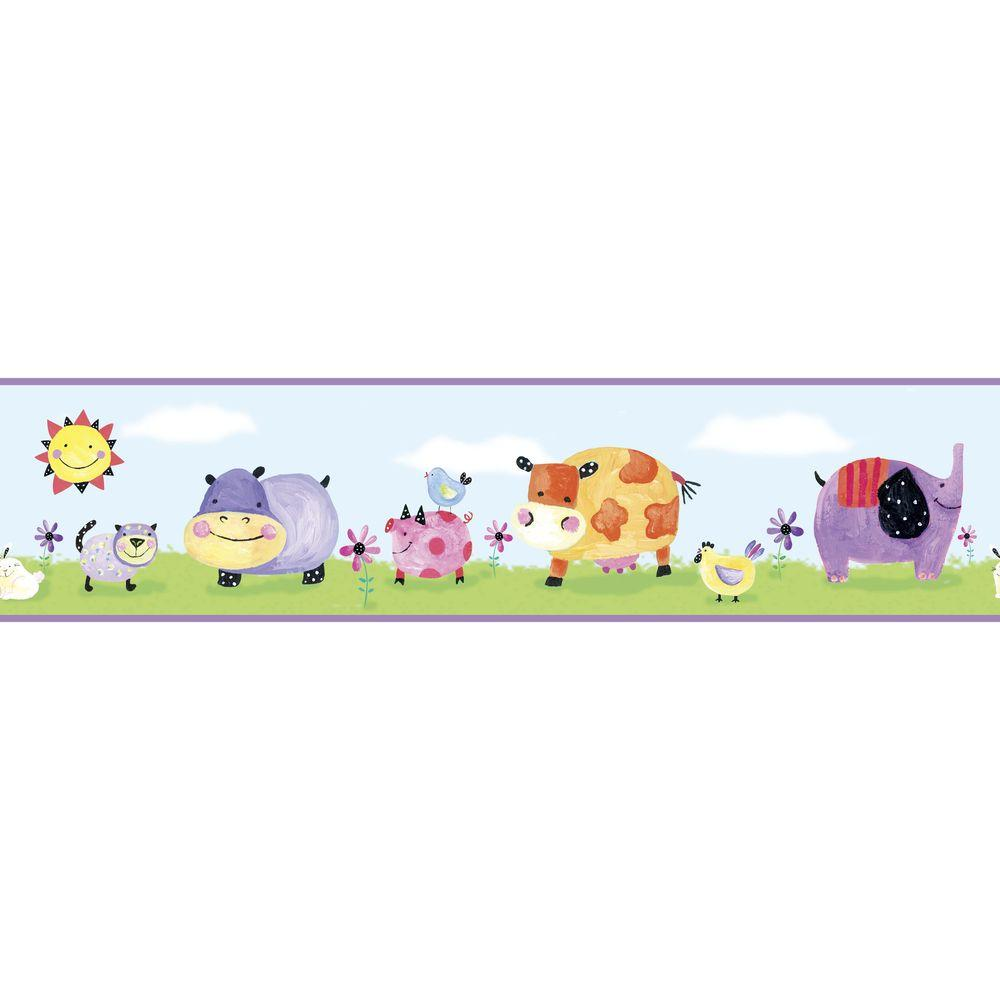 Polka Dot Piggy Peel and Stick Wallpaper Border