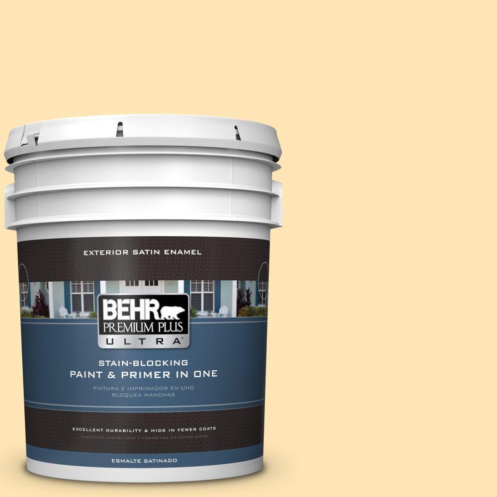 BEHR Premium Plus Ultra 5-gal. #P260-3 Vanilla Ice Cream Satin Enamel Exterior Paint