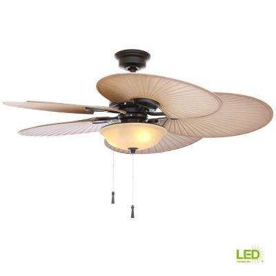 Led Indoor Outdoor Natural Iron Ceiling Fan With Light Kit