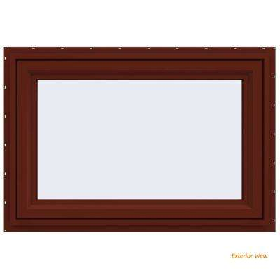47.5 in. x 29.5 in. V-4500 Series Red Painted Vinyl Awning Window with Fiberglass Mesh Screen