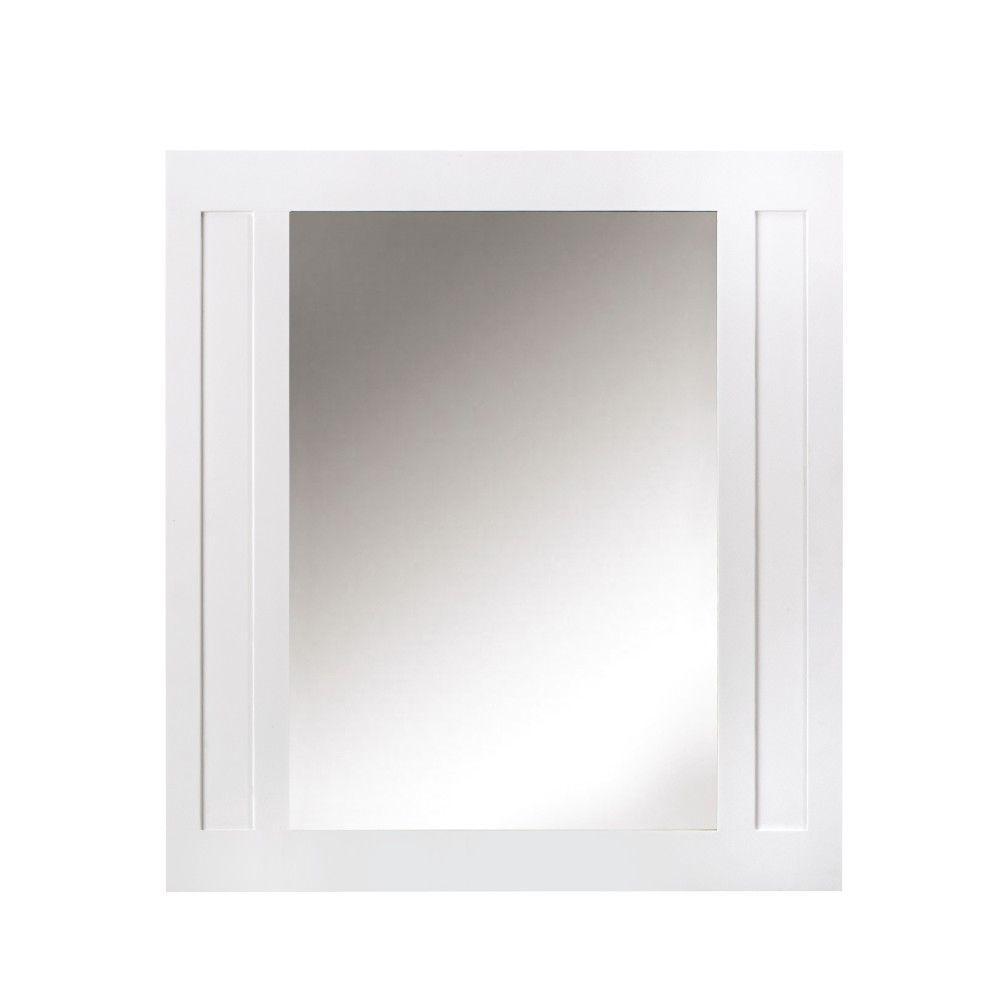 33 in. W x 36 in. H Framed Rectangular  Bathroom Vanity Mirror in White