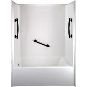 Ultimate 60 in. x 33 in. x 81 in. 1-Piece Subway Tile Bath and Shower Kit, LHS Drain in White, 3 Curved Black Grab Bars