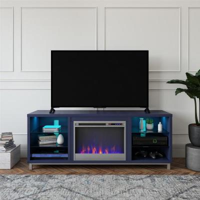 Cleveland Deluxe 64.75 in. Freestanding Electric Fireplace TV Stand for TVs up to 70 in. in Navy
