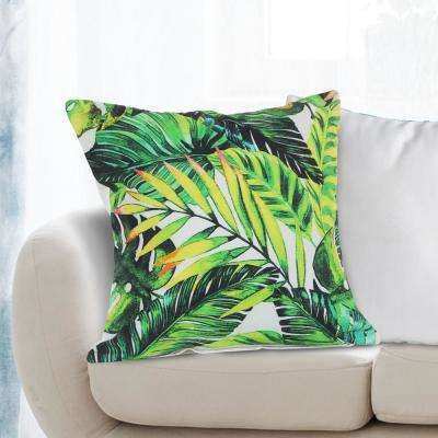 Bahama 18 in. x 18 in. Green Tropical Palm Leaves  Throw Pillow