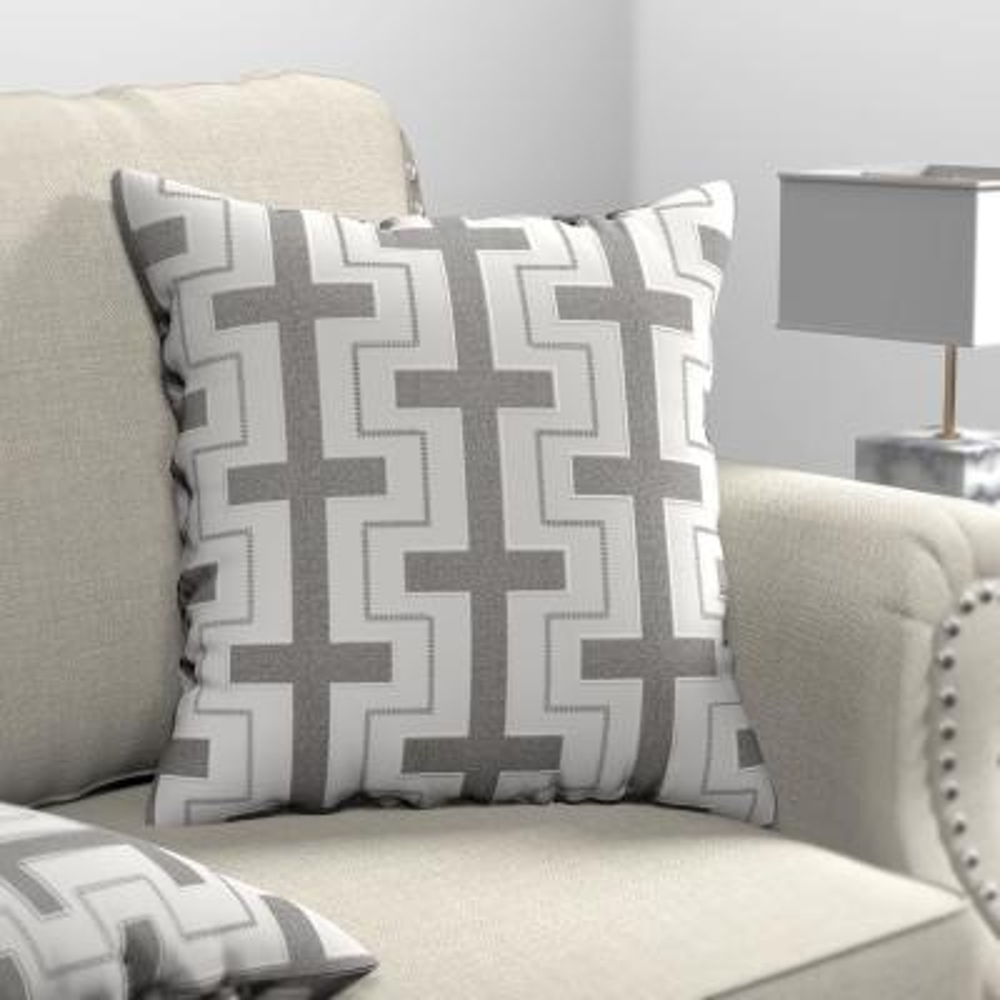 Geometric Lines Silver Decorative Pillow (Set of 2)