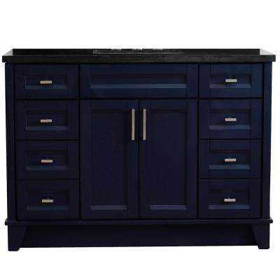 49 in. W x 22 in. D Single Bath Vanity in Blue with Granite Vanity Top in Black Galaxy with White Rectangle Basin