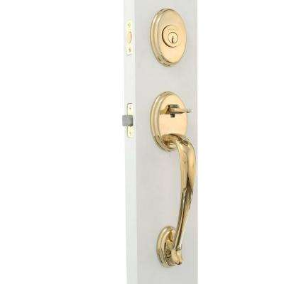 Reserve Columbus Single Cylinder Lifetime Polished Brass Handleset with Ellipse Knob and Traditional Round Rose