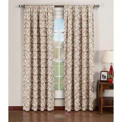 Semi-Opaque Valencia Printed Cotton Extra Wide 84 in. L Rod Pocket Curtain Panel Pair, Taupe (Set of 2)