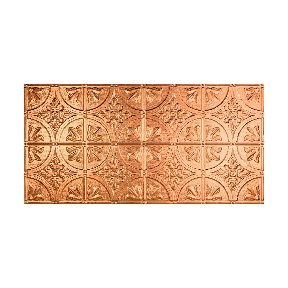 Fasade Traditional 2 - 2 ft. x 4 ft. Glue-up Ceiling Tile in Polished Copper