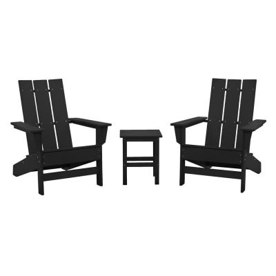 Aria Black Recycled Plastic Modern Adirondack Chair with Side Table (2-Pack)