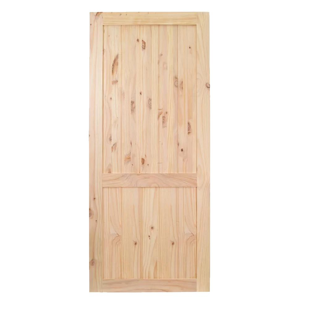 36 in. x 84 in. 2-Panel Unfinished Natural Wood Barn Door