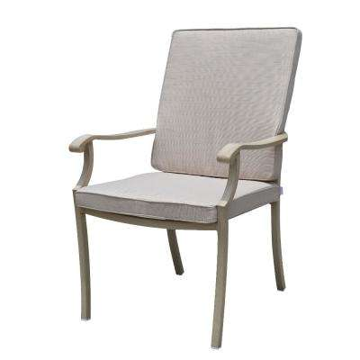 Torino Collection Aluminum Outdoor Dining Chair with Beige Cushions (4-Pack)