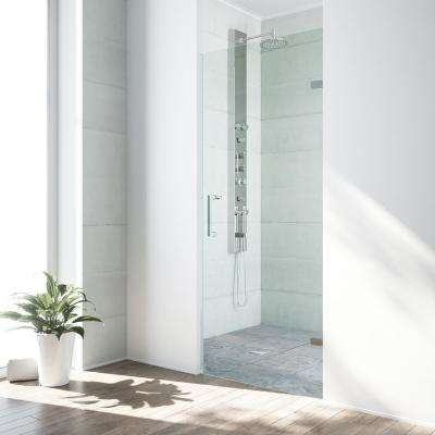 SoHo 26 in. to 26.5 in. x 70.625 in. Frameless Pivot Shower Door with Hardware in Chrome with 3/8 in. Clear Glass