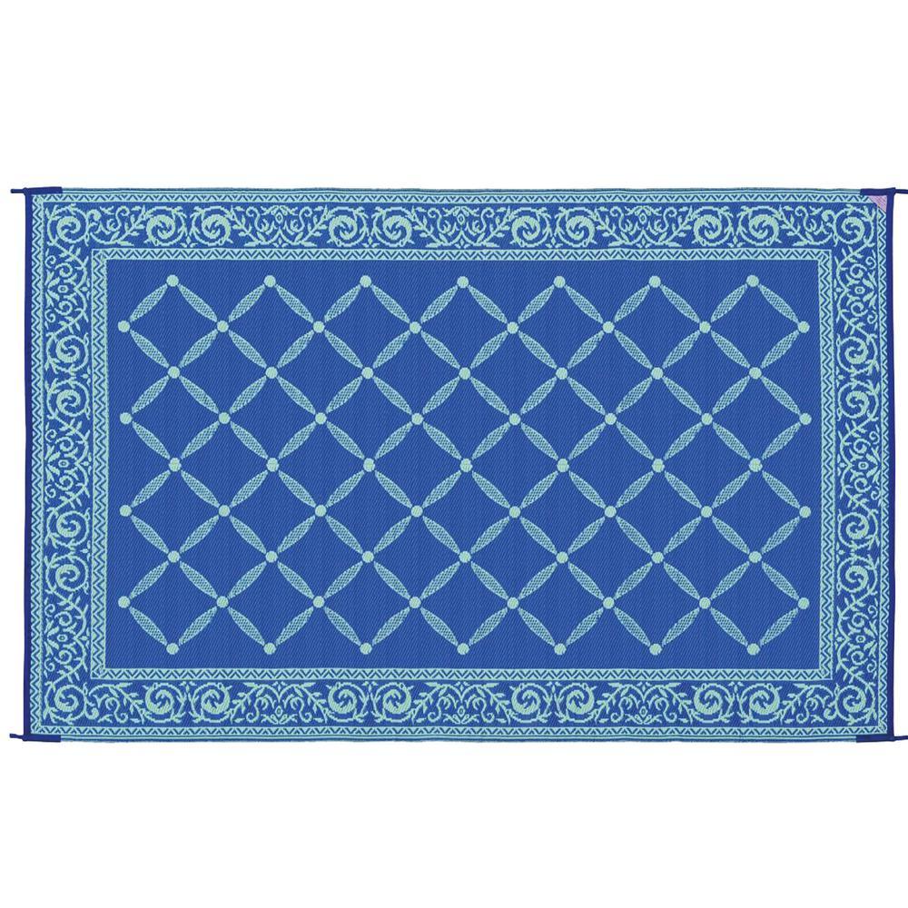 Classic Blue/Light-Green 6 ft. x 9 ft. Reversible Mat