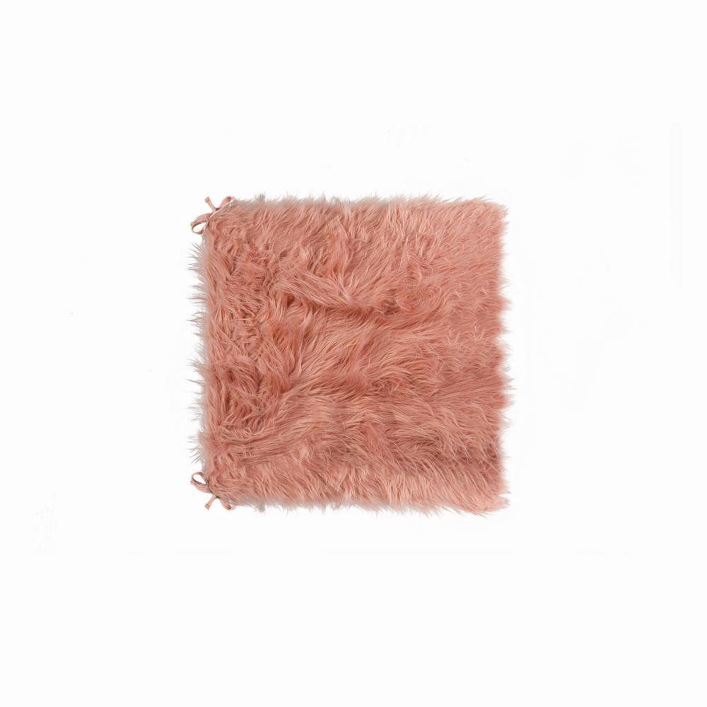Laredo Dusty Rose Faux Sheepskin Fur Chair Pad (Set of 2)