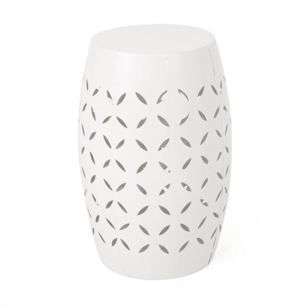 Lilac White Round Metal Outdoor Side Table