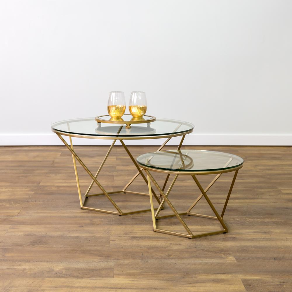 Walker Edison Furniture Company Geometric Glass Nesting Gold Coffee Tables