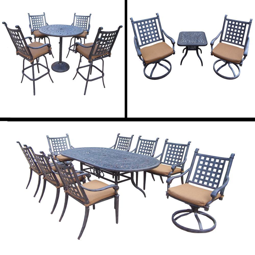 Belmont Premier 17-Piece Aluminum Outdoor Dining Set with Sunbrella Brown